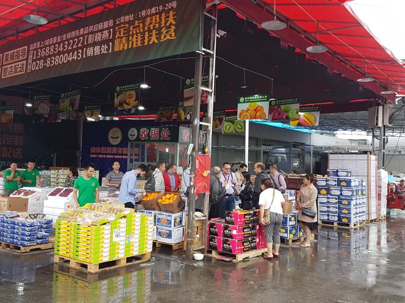 Venta de frutas en mercados chinos