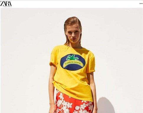 web zara camiseta platano canarias